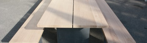 Tisch & Bank in Eiche und Stahl