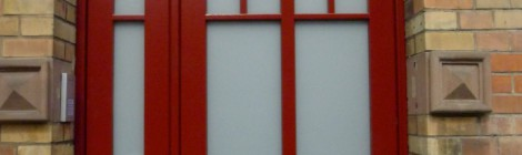 Haustür in rot